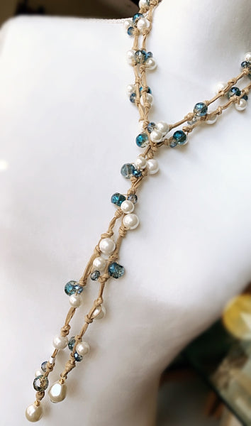 Juliette Lariat - Blue Crystals / Pearls