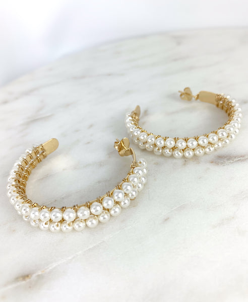 Double Hoop - Pearls