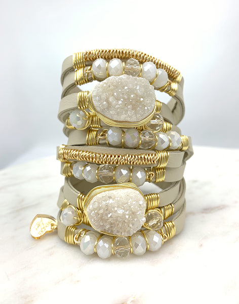 Maxi Wrap Leather Bracelet / Beige / White Druzy