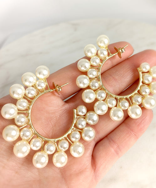Solar pearls Hoops