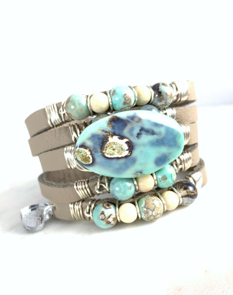 Maxi Cuff Leather / Ocean Agate / Silver Plated