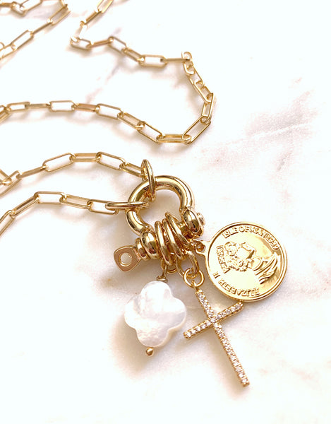 Multi-Charm Lock Necklace - Courage