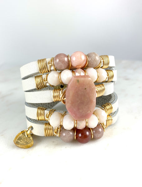 Maxi Cuff Leather / Pink Opal Stone