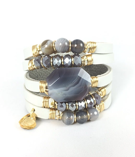 Maxi Cuff Leather/ Sardonyx Stone/ Gold Plated