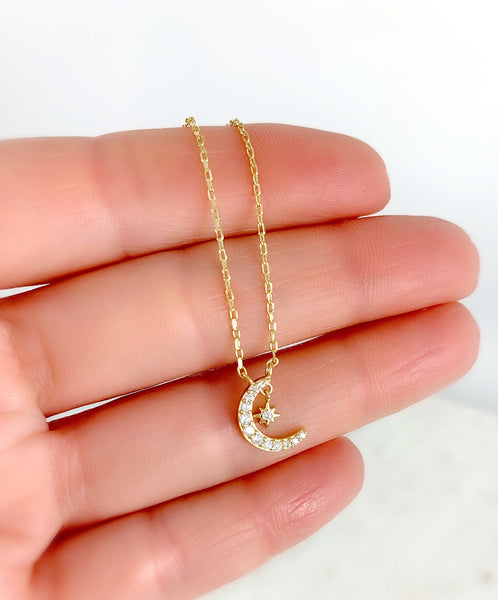 Dainty Moon & Star Necklace