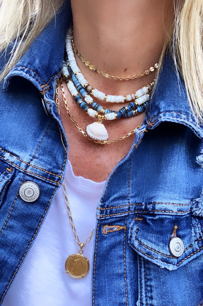 Puka Necklace Denim Blue / White - Seashell Pendant