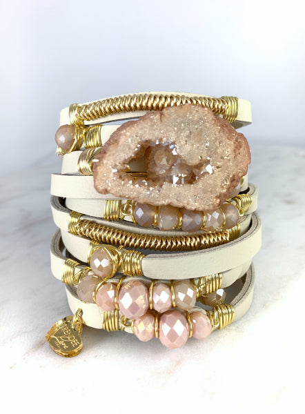 Maxi Wrap Leather Bracelet / Druzy