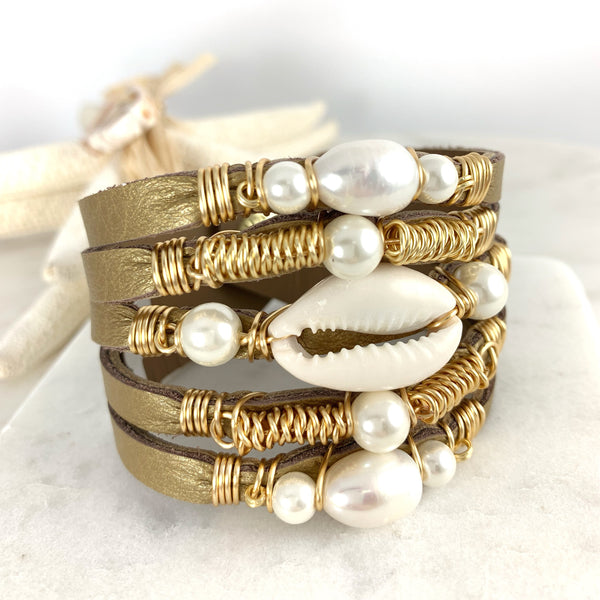 Maxi Cuff Leather Bracelet / Gold Leather / Cowrie Shell & Pearls
