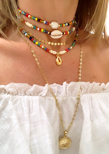 Choker Boho Multicolored - Gold Shell