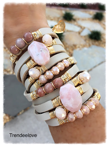 Maxi Wrap Leather Bracelet / Pink Opal Stones / Gold Plated