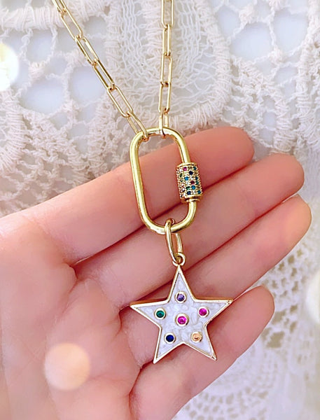 Oval Lock Necklace - Star