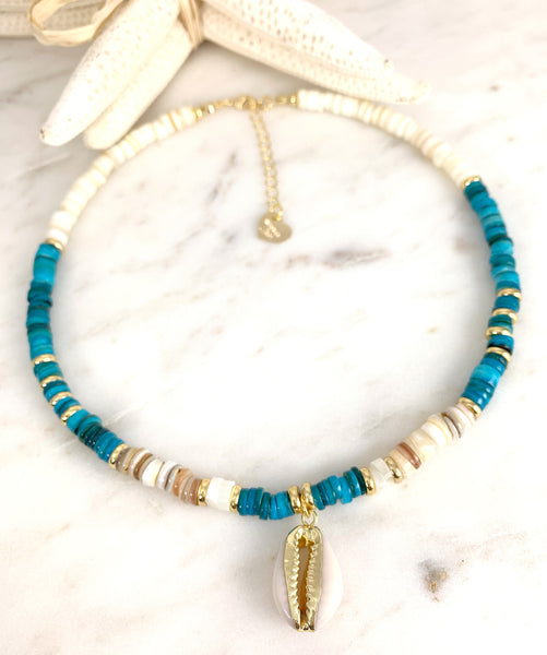 Puka Necklace Turquoise - Cowrie Shell