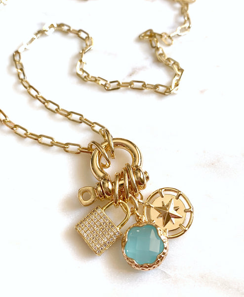 Multi-Charm Lock Necklace - Strengh