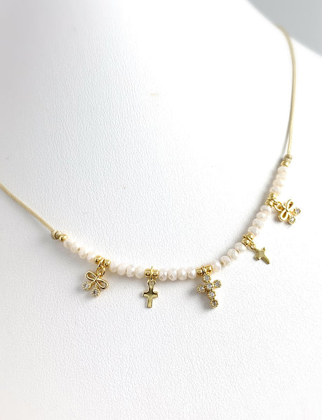 Dainty Charm Choker - Tiny Crosses White