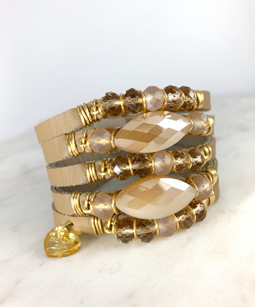 Maxi Cuff Leather / Caramel Crystals