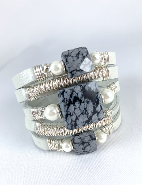 Maxi Cuff Leather / Grey Marble / Silver Plated