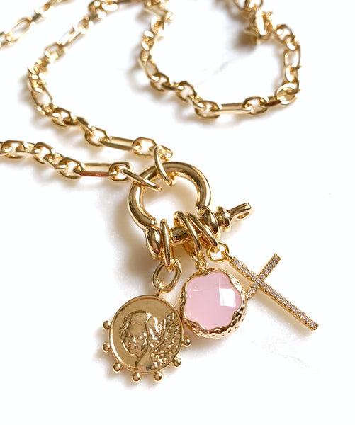 Multi-Charm Lock Necklace - My Angel