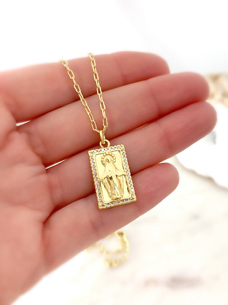 Miraculous Virgin Mary Tag Necklace