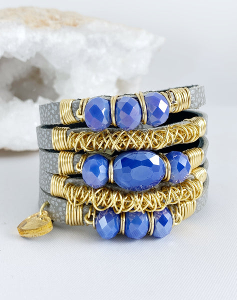 Maxi Cuff / Grey / Blue Crystals