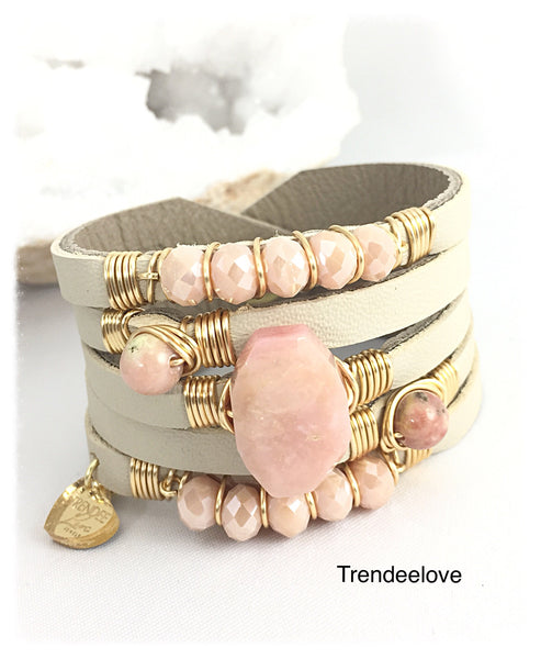 Maxi Cuff Leather / Pink Opal Stone / Gold Plated