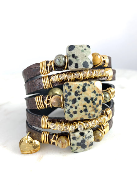 Maxi Cuff Leather Brown / Animal Print