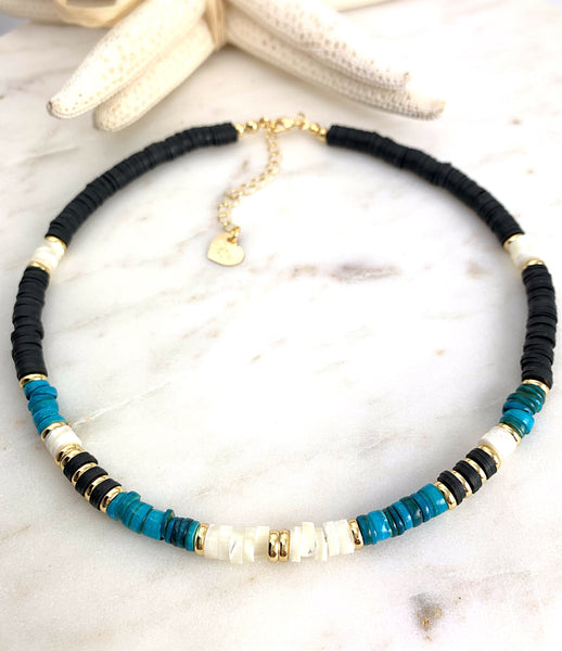 Puka Necklace Turquoise and Black