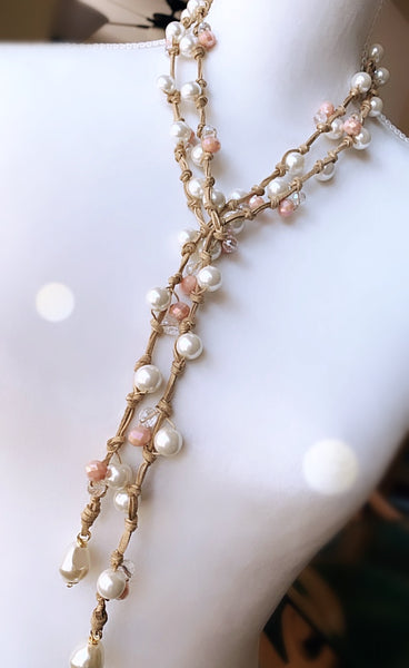Juliette Lariat - Pearls / Dusty Rose Crystals