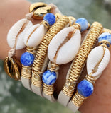 Maxi Cuff Leather / Cowrie Shell & Blue Stones/ Gold Plated