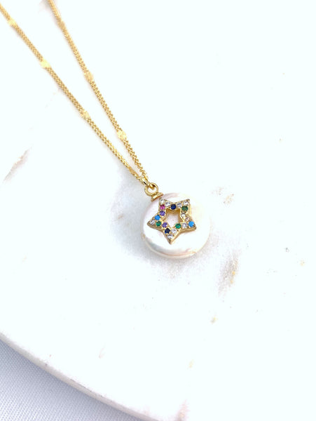 Rainbow Star Pearl Necklace