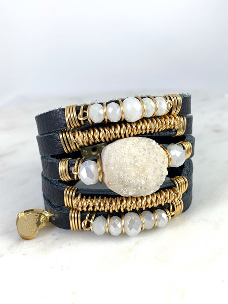 Maxi Cuff Leather Black / White Druzy Stone/ Gold Plated
