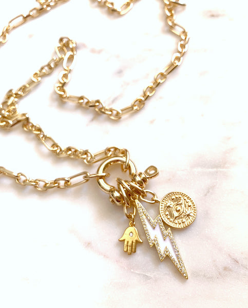 Multi-Charm Lock Necklace - Power