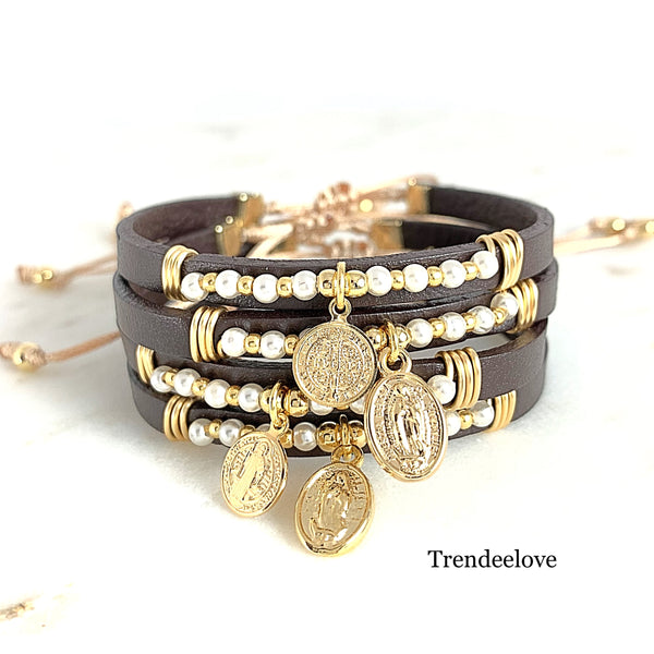 Dainty Leather Bracelet / Religious