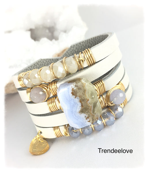 Maxi Cuff Leather / Blue Lace Agate Stone / Gold Plated