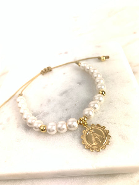 Virgin Mary Pearl Bracelet