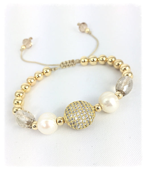 Gold filled Bracelet - Cz and Pearls