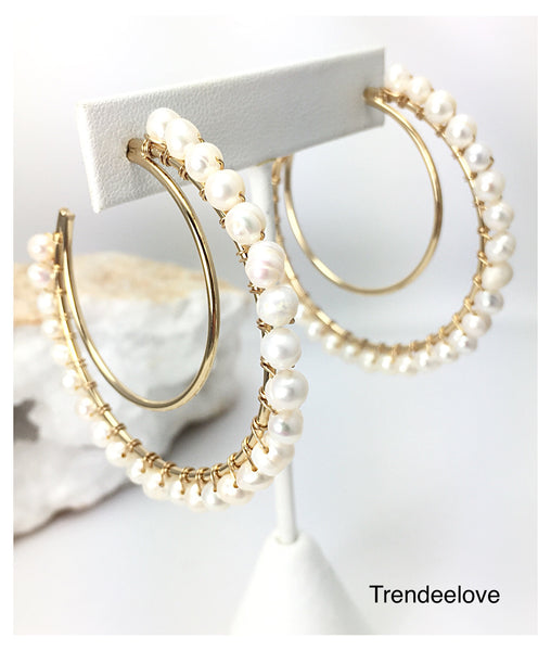Crescent Moon Hoops with Pearls