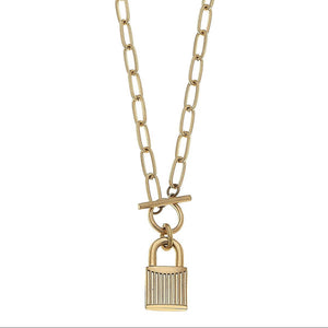 Lock Necklace with T-Bar Closure