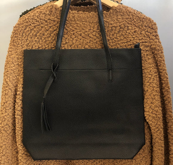 Black Simple Vegan Leather Tote