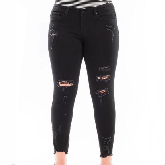 Kancan Mid Rise Fray Ankle Skinny