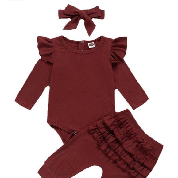 3 Piece Ruffle Onesie Set