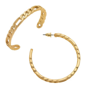 Chain Hoop Earring in Matte Gold