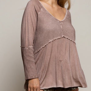 Raw Edge Ribbed Tunic