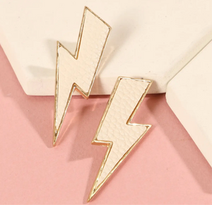 Thunder Bolt Leather Earring