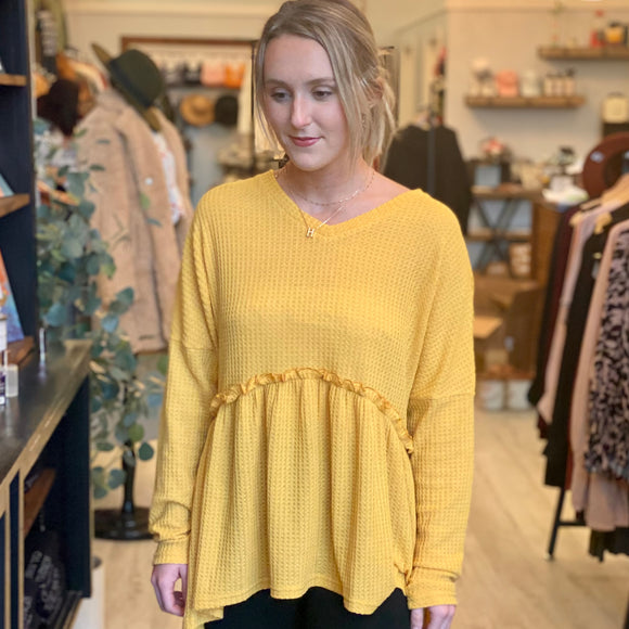 Long Sleeve Thermal Baby Doll Top- Mustard