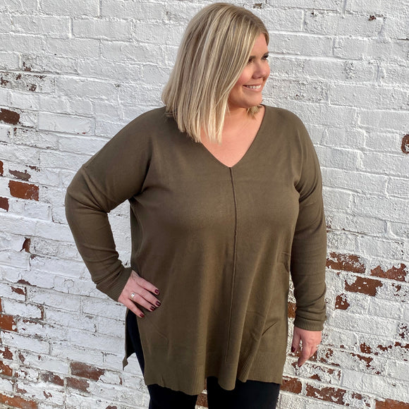 Olive Green Lightweight Sweater