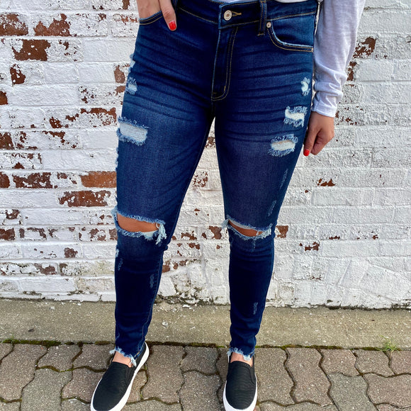 Kancan Mid Rise Distressed Super Skinny