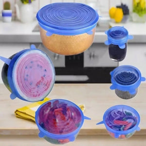 6 Pcs/Set Food Silicone Cover Universal Silicone Lids For Cookware Bowl Pot Reusable Stretch Lids Kitchen Accessories Cookware