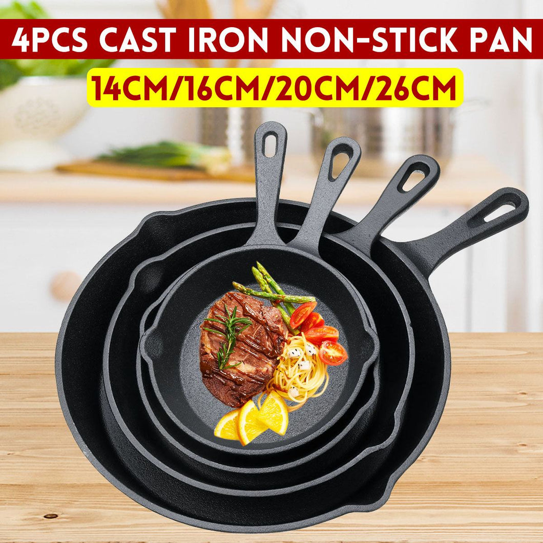 4Pcs/Set 14/16/20/26cm Skillet Frying Pan Cast Iron for Cooking Cooker Pancake Pot Non-stick Kitchen&Dining Tools Cookware