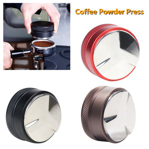 51mm Espresso Adjustable Coffee Tamper Trefoil Coffee Distributor For Barista Flat Stainless Steel Base Coffee Bean Press