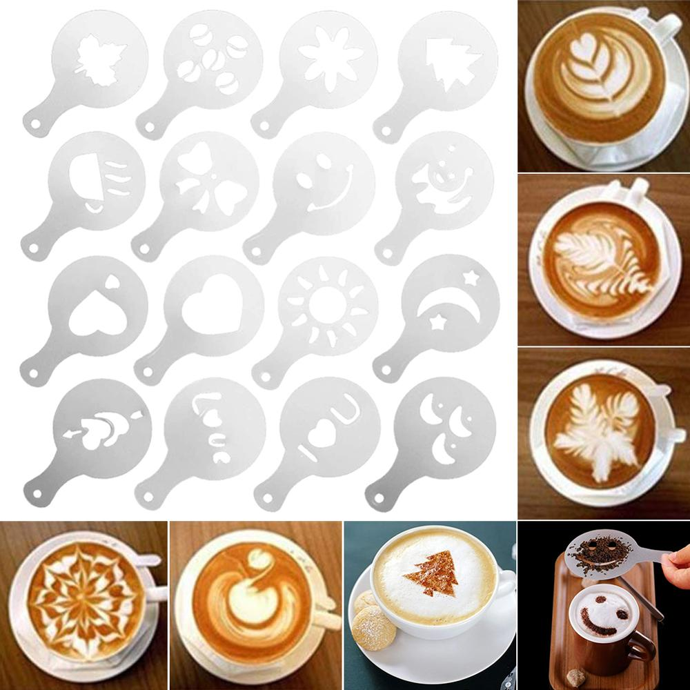 16Pcs Coffee Stencils Set Drawing Tools Maker Fancy Coffee Printer Model Plastic Template Mold for Kitchen Coffeeware